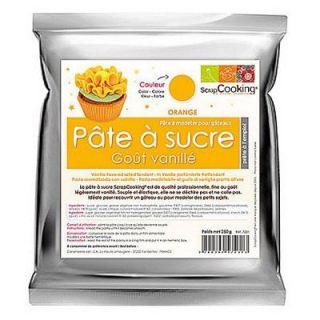 DÉCORATION PÂTISSERIE Pâte à sucre arômatisée vanille   Orange