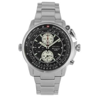 Seiko Mens Stainless Steel Black Dial Chronograph Watch