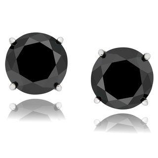 Sterling Silver 1 to 3ct TDW Black Diamond Earrings