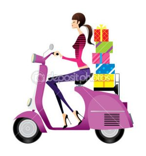 Side view of woman riding scooter  Stock Vector © zzve #11139449