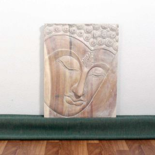 Monkey Pod Wood 24x36 inch White Oil Ushnisha Buddha Panel (Thailand