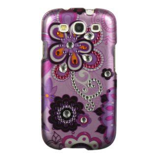 Premium Samsung Galaxy S3 Purple Flower Rhinestone Case