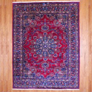 Persian Hand knotted Mashad Red/ Navy Wool Rug (99 x 126