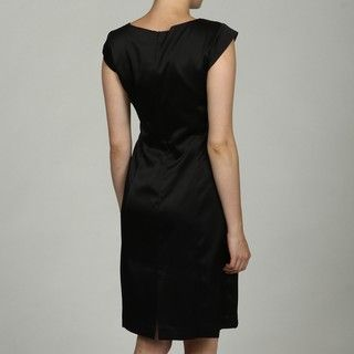 Sandra Darren Womens Black Cap sleeve Bow Dress