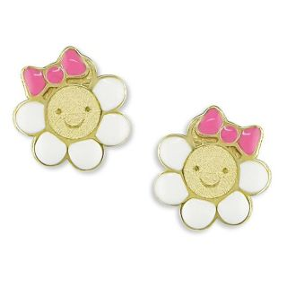 14k Yellow Gold Flower with Bow Baby Earrings
