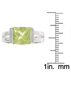 14k White Gold Lemon Quartz Pave Diamond Ring