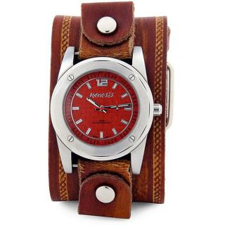 Nemesis Mens Stainless Steel Red Pattern Leather Watch Today $65.99