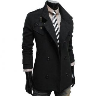 TheLees Mens double breasted high neck wool coat jacket