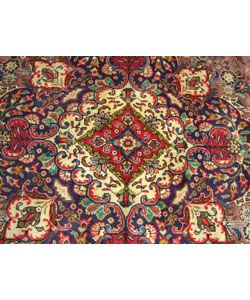 Persian Tabriz Hand knotted Purple Wool Rug (97 x 128)
