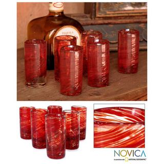 Set of 6 Ripe Ruby Blown Glass Shot Glasses (Mexico)