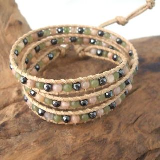 Greenly Magic Agate Quartz Stone Snake Cord Wrap Leather Bracelet