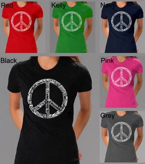 Los Angeles Pop Art Womens 77 language Peace Symbol Tee