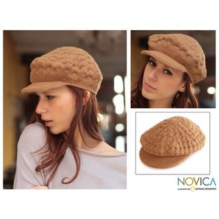 Alpaca Wool Tan Newsboy Cap Hat (Peru)