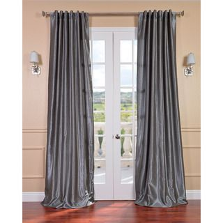 Storm Grey Vintage 120 inch Faux Textured Dupioni Silk Curtain Panel