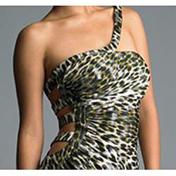 Issue New York Womens Green Leopard Cut out Detail Dress