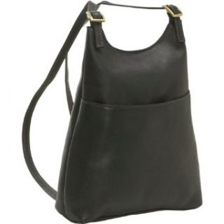 Le Donne Leather Womens Sling BackPack Purse   Black