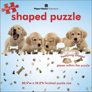 Paper House Golden Retriever Puppies 500 piece Shaped Jigsaw Puzzle