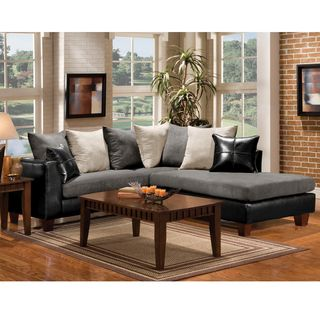 Enitial Lab Black Contemporary Sectional Sofa