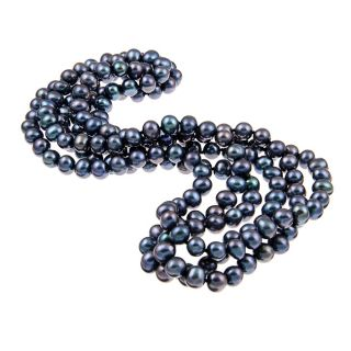 DaVonna Peacock Black Freshwater Pearl 64 inch Endless Necklace (8 9
