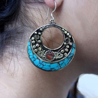 Brass and Sterling Silver Turquoise Crescent Earrings (Nepal