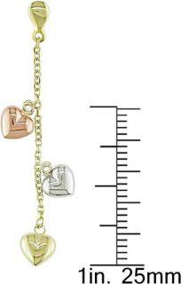 10k Gold Tri tone Dangle Heart Earrings
