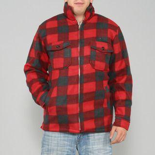 Maxxsel Mens Red/ Black Buffalo Plaid Flannel Jacket
