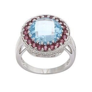 Oro Leoni Sterling Silver Blue Topaz and Rhodolite Ring (Size 7
