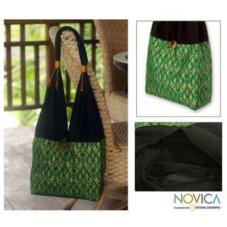 Cotton Thai Emerald Sling Tote Bag (Thailand)