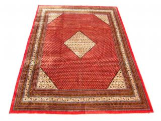 Persian Sarouk Mir Hand knotted Red Wool Rug (95 x 136)