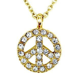 Goldtone Clear Crystal Peace Symbol Charm Necklace