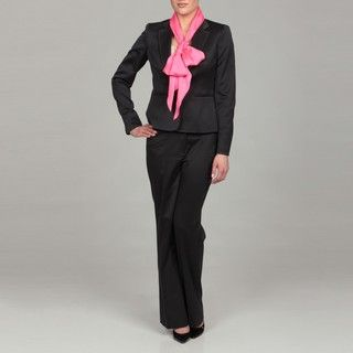 Anne Klein Womens Midnight Pink Scarf Pant Suit