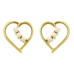 10k Gold October Birthstone Prong set Opal Heart Designer Earrings