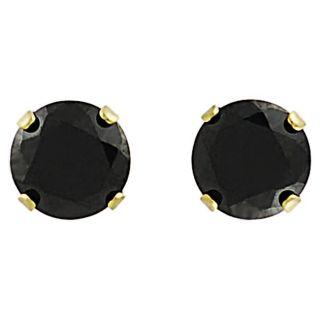 Tressa Sterling Silver Vermeil 6 mm Round cut Black CZ Earrings