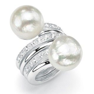 Angelina DAndrea Silver FW Pearl and White Topaz Ring Set (14 16 mm