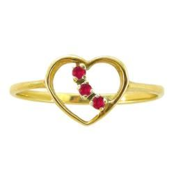 10k Gold Created Ruby 3 stone Heart Ring