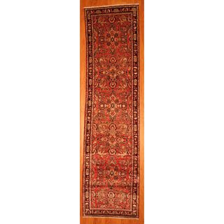 Hand knotted Persian Sarouk Red/Navy Wool Rug (38 x 140