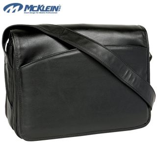 McKlein Black Lakeview Leather Laptop Messenger Bag