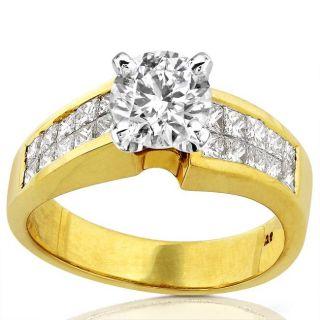 18k Yellow Gold 1 4/5ct TDW Diamond Engagement Ring (E F, I1 I2