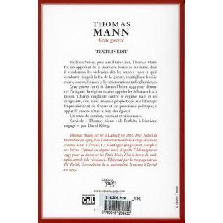 CETTE GUERRE   Achat / Vente livre Thomas Mann pas cher