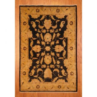 Indo Hand knotted Mahal Burgundy/ Black Wool Rug (4 x 6)