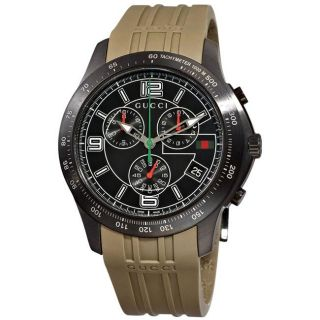 Gucci Mens G Timeless Grey Rubber Strap Chronograph Watch