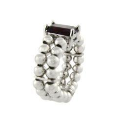 Sterling Silver Emerald cut Garnet Beaded Stretch Ring