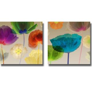 Robert Mertens Poppy Panorama I and II 2 piece Canvas Art Set