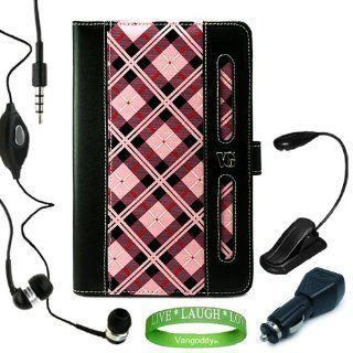 Stylish Pink Checker Plaid Melrose Leather Case, Accessory