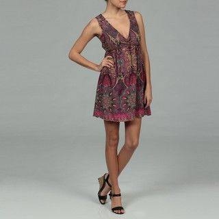 Angie Juniors Purple Paisley Print Surplice Dress