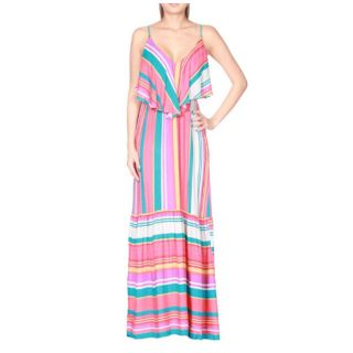 Tabeez Womens Striped Ruffle Maxi Dress