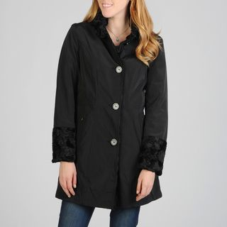 Hilary Radley Womens Single Breasted Reversible Storm Coat