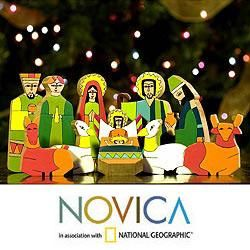 Handcrafted Pinewood Gods Gift Nativity Scene (El Salvador