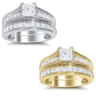 14k White or Yellow Gold 2ct TDW Princess cut Diamond Bridal Ring Set