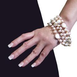 Adee Waiss White Freshwater Pearl and Tigers Eye 5 strand Bracelet (6